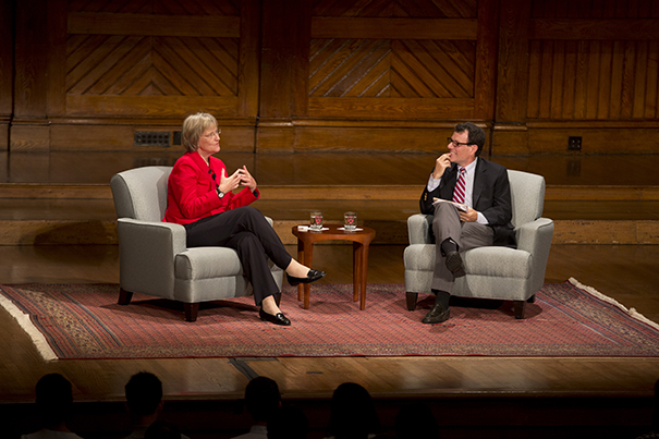 Harvard University President Drew Faust had an opening-of-year conversation in Sanders Theatre about Harvard with Harvard Overseer Nicholas D. Kristof AB '82 a two-time Pulitzer Prize winner, and columnist for The New York Times. Rose Lincoln/Harvard Staff Photographer
