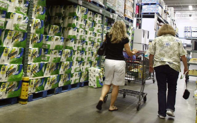People shop for goods at BJ's Wholesale Club store in New York